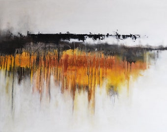 "Original Abstract Painting Landscape LARGE 27x39"" UNSTRETCHED Rolled in a tube, Dark Grey Golden Yellow"