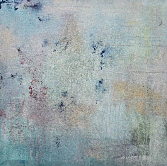 """Original Abstract Painting, UNSTRETCHED Aqua-Grey Cream Neutral Art Rolled in a Tube 20x20"""""""