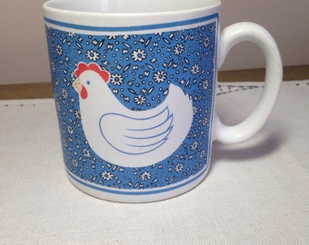 Vintage Mug CHICKEN 80s Country Farmhouse Blue