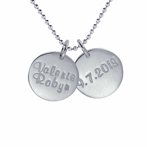Silver Name Birth Date Necklace Hand Stamped Sterling Double Charm New Baby Jewelry Personalized Custom Engraved Artisan Handmade Designer
