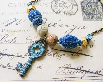 Vintage Key Pendant Necklace Green Patina Key Charm Blue Jean Handmade Beads Brass Chain Necklace