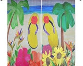 """Flowers and flip flops beach shear curtains available in 60"""" or 84"""" lengths"""