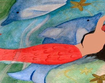 Red Mermaid and Dolphin Beach Towel from my art