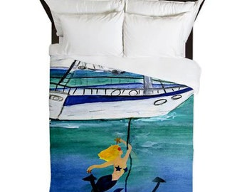 Blond Anchor Mermaid Nautical Duvet Cover from my art. Available in twin,queen and king sizes