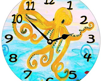 Yellow Octopus house wall clock from my art