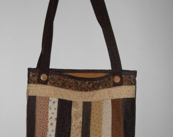 """Quilted tote  --  brown     11"""" x 13"""""""