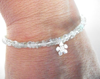 Aquamarine bracelet, silver flower, aquamarine and quartz gemstone bracelet, adjustible length, march birthstone jewelry