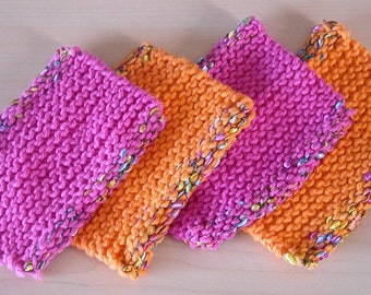 Knitted Cotton Mug Rug Coasters in Pink and Orange