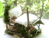 Woodland Fairy House Bed with rose buds moss and fairy mattress one of a kind