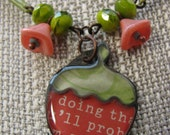 Springy Strawberry Necklace OOAK