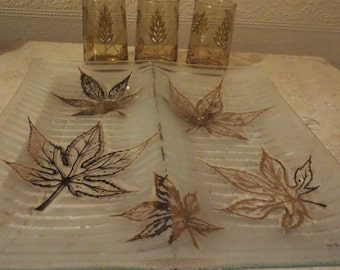 Vintage Glass serving tray Fred Press  2 sections
