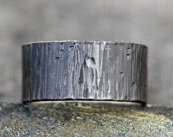 """Black Birch Bark Sterling Silver Band- Custom 3/8"""" Wide Oxidized Wedding Band"""