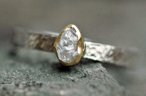 Conflict-free Rough Diamond Ring in 22k Yellow Gold and 14k White Gold- Mixed Metal Engagement Ring