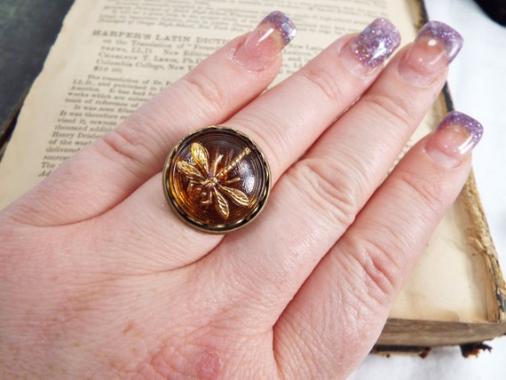 Amber Dragonfly - Amber Glass Dragonfly Adjustable Ring
