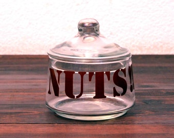 "Vintage Serving Bowl Silkscreened with ""NUTS!!!"""