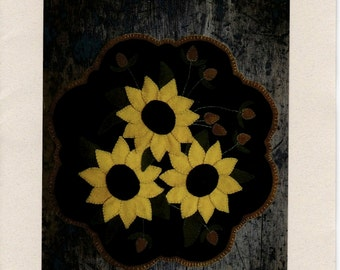 Sunflowers & Thistle, Lake View Primitives Wool Applique Kit
