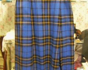Vintage Blue Plaid Wool Blend Lined Pleated Skirt from Rustysecrets