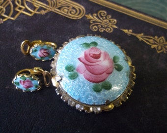 SALE - Vintage Blue Guilloche Pin And Earrings from Rustysecrets