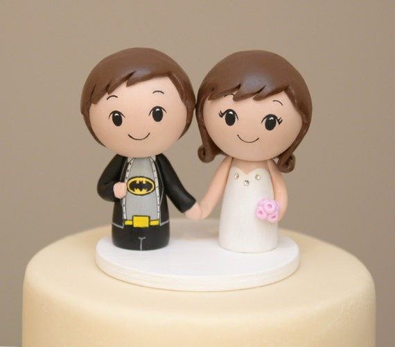 Topper for the month of January -Personalized Cake Topper  Batman Superhero Kokeshi Cake Topper - Wooden Wedding Cake Topper