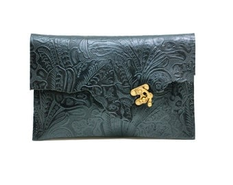 Floral Print Leather Clutch - Raw Edge Steampunk Leather Clutch Purse - One of a Kind Rustic Bag