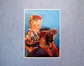 Mid Century Poster Litho Rascal Boy and Puppy Shepard Dog Vintage Playful Boys Wall Hanging Blonde Cottage Chic Nursery Decor