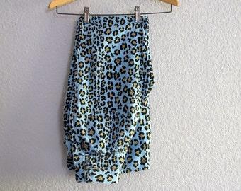 80s Fendi Linen Jeans Blue Leopard Print Skinny Slacks XXS XS 24 Waist