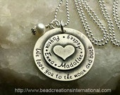 NEW Sterling Silver We Love You To The Moon and with Four Names Small Heart Stacked on Top Hand Stamped Necklace