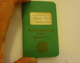 Antique Bank Passbook, First National Bank, Cameron, WV, 1955