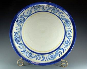Handmade Pottery Plate, Blue and White Scroll Design Platter - SKU142-3