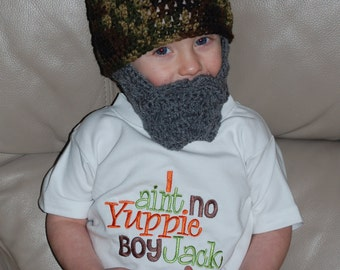 Beard Beanie Child Size 2 to 4 Years Shown But Can Customize Size and Colors