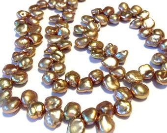 petite Pearls Keshi nugget petals rose gold colored pearls WHOLE strand AAA grade keishi
