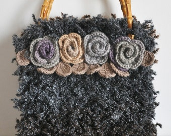 Floral Bag - Fur - Gray and Coffee - Hand Woven Crochet Floral Bag/Purse