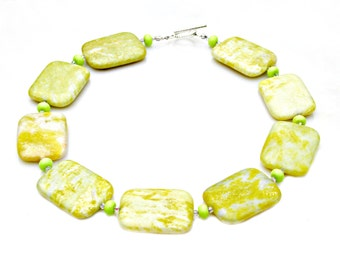 Jasper Necklace, STATEMENT Necklace, Lemon Necklace, Lime Necklace, Green Yellow Necklace, High Fashion, Modern Chunky Goddess by Mei Faith