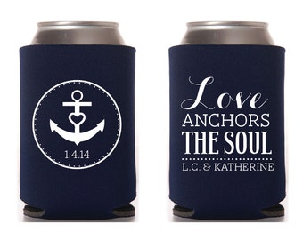 Custom Wedding Collapsible Can Coolers - Love Anchors The Soul