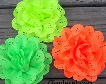 NEON Chiffon Eyelet Flowers- 3-3.5 inch- Headband Supplies- Diy Hair Flowers- Fabric Flowers- Neon Flowers- 3pc Set