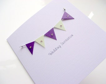Carnival Wedding Invitation with Paper Bunting & Swarovski Crystals - Sample