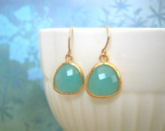 Mint Aqua Earrings, Gold Earrings, Wife Gift, Best Friend, Girlfriend Gift, Mom Gift, Sister Gift
