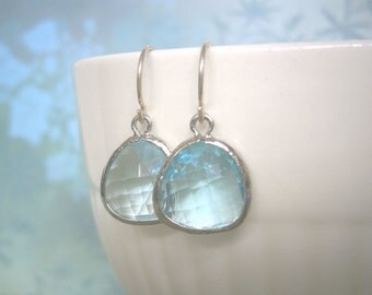 Aquamarine Earrings, Blue Earrings, Silver Earrings