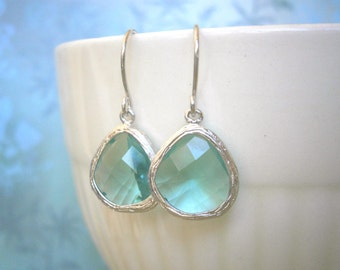 Teal Blue Glass, Silver Earrings, Simple, Modern, Classic, Everyday Jewelry