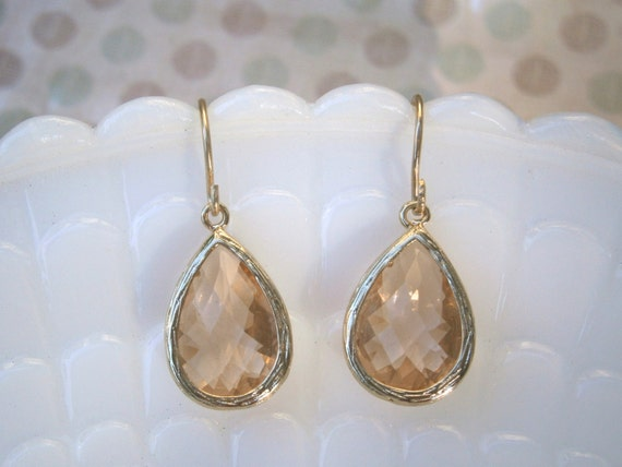 Champagne Earrings, Blush Earrings, Gold Earrings, Best Friend Birthday, Summer Wedding