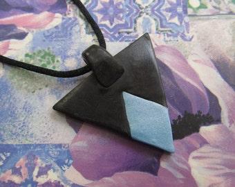 Blue Diamond - Polymer Clay Pendant Necklace