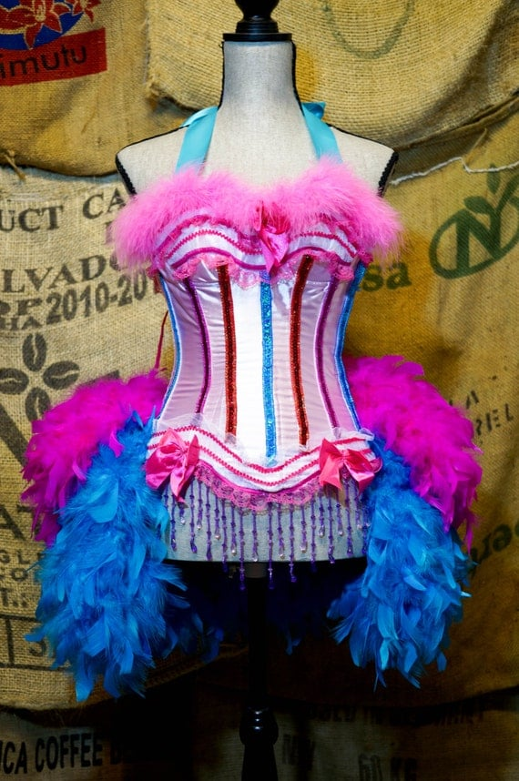 LARGE - GYPSY ROSE Showgirl Costume Circus dress Burlesque outfit with feathers
