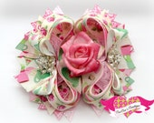 Tea Cup Cream and Pink Rose Boutique Hair Bow for Girls, Tea Party Bow, Damask Bow, Pink Bow