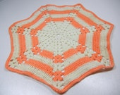 Classic spider web doily / crocheted Vintage Doily / peach coral cotton / retro / party or RV decor / Spring / Easter / kitchen decor