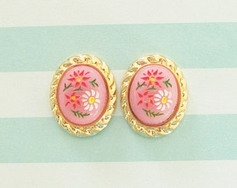Pink Daisy Flower Stud Earrings - Pink Painted Daisy Rope Oval Gold Plated Post Earrings - Preppy Bridesmaid, Wedding, Bridal