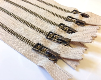 Antique brass 9 inch zippers with DHR style pull, TEN pcs, Natural beige YKK color 572, metal zippers, leather bag zips
