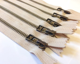 Antique brass 9 inch zippers with DHR style pull, FIVE pcs, Natural beige YKK color 572, metal zippers, leather bag zips