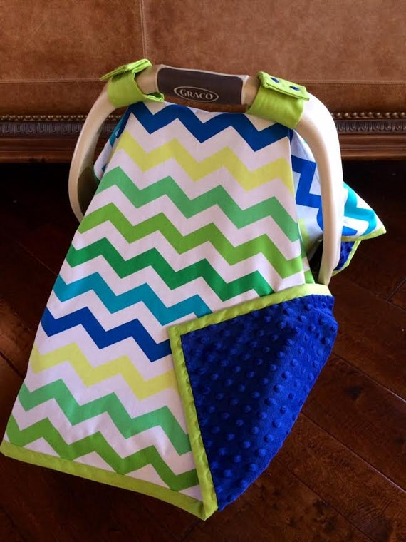 items similar to super cute baby car seat covers blues and greens chevron and blue minky. Black Bedroom Furniture Sets. Home Design Ideas