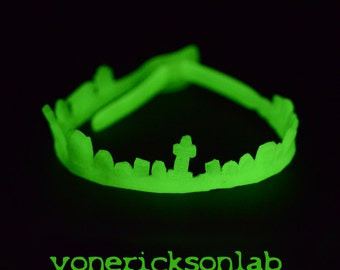 Spooky Glow in Dark Jewelry- Horror - Gothic Necklace -Cemetery Tombstone Choker - Glow in the dark