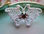Vintage butterfly brooch Crochet lace glass beaded body